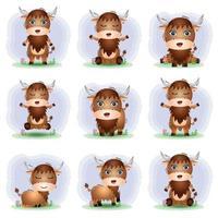 coleção de búfalos fofa no estilo infantil vetor