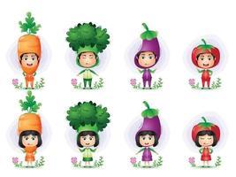 uma criança usando o personagem do traje de vegetais. brócolis, berinjela, cenoura e tomate vetor