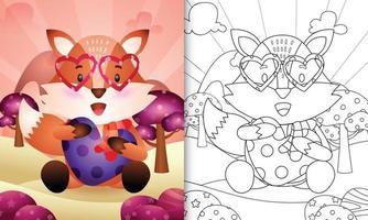 livro de colorir para crianças com uma raposa fofa abraçando o coração com o tema do dia dos namorados