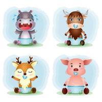 coleção de animais bebês hipopótamo, búfalo, veado e porco