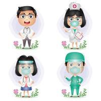 médicos e enfermeiras da equipe médica vetor