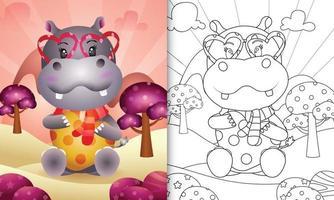 livro de colorir para crianças com um hipopótamo fofo abraçando o dia dos namorados com tema de coração