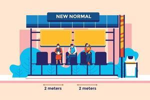 Novo estilo de vida normal, distância física no ponto de ônibus e conceito de ilustração vetorial da estação de ônibus vetor