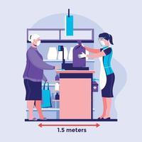 distanciamento social seguro compras de supermercado durante o conceito de ilustração vetorial de prevenção covid-19 vetor