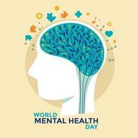 ilustração em vetor conceito dia mundial da saúde mental