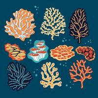 conjunto de corais e esponjas do mar vetor