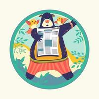 personagens animais lendo jornal