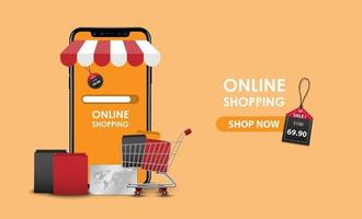 conceito de compras online, loja online de smartphone, ilustração vetorial vetor