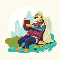 personagens animais lendo livros ilustração vetorial