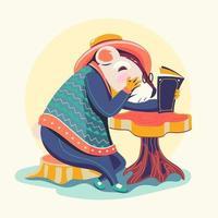 personagens animais lendo livros vetor