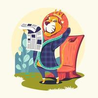 personagens animais lendo jornal vetor