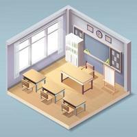isométrica adorável sala de aula vazia interior, escola ou classe de faculdade vetor