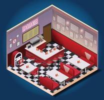 composição isométrica de restaurante vintage americano vetor