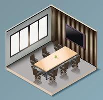sala de reunião de negócios isométrica vecter vetor