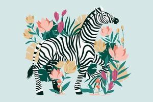 zebra selvagem com fundo de flores tropicais exóticas vetor