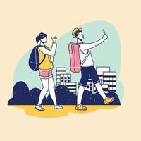 jovens turistas com uma mochila caminhando e tirando selfies vetor