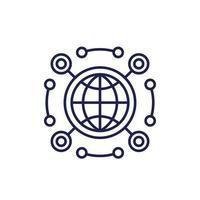 ícone de linha de API de rede em branco vetor