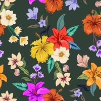 padrão sem emenda colorido com design floral botânico em fundo escuro. vetor