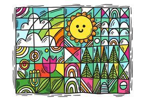 paisagem geométrica colorida das flores vetor