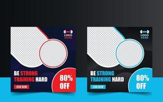 modelo de banner promocional de treinamento de ginásio de fitness vetor
