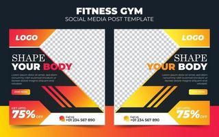 banner de promoção de mídia social de ginástica e fitness vetor