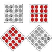 elementos em forma de quadrado para roupas folclóricas romenas e moldavas. motivos orientais tradicionais com bordados vermelhos. vetor