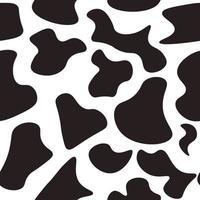 padrão preto e branco sem costura com estampa animal de vaca. fundo repetitivo com manchas de vaca ou cachorro dálmata. vetor