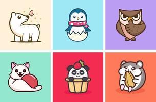 coleção de ilustração de animais fofos vetor