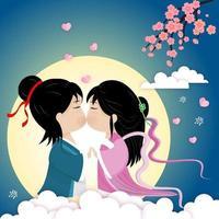 festival de qixi ou ilustração em vetor tana bata. encontro do vaqueiro e da menina tecelã no lindo céu noturno.