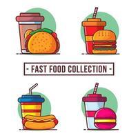 fast food com coleção de ilustração de bebidas vetor