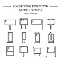 conjunto de painéis publicitários e ícones de exibição de banner