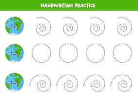 trace as linhas com cartoon earth. prática de habilidades de escrita. vetor