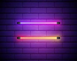 imagem vetorial de lâmpadas ultravioleta. ilustração de luz realista. símbolo da moda moderna. conjunto de diferentes tons de cores. estilo popular. design de néon. vetor