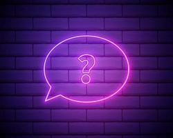 sinal de néon isolado realista de vetor de decoração de modelo de pergunta e cobertura no fundo da parede.