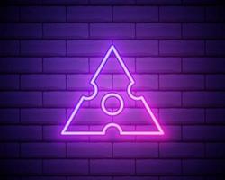 Shuriken brilhante néon ui ux ícone. vetor de sinal brilhante. ícone shuriken brilhante isolado no fundo da parede de tijolos