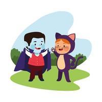 crianças fofas vestidas de drácula e gato vetor