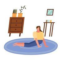 mulher fazendo ioga em casa desenho vetorial