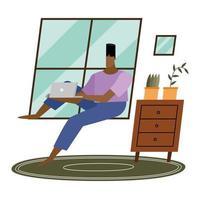 homem com laptop perto da janela em casa desenho vetorial