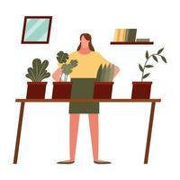 mulher com plantas em casa desenho vetorial