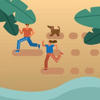 jovem casal correndo com o cachorro na praia vetor