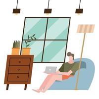 homem com laptop em casa desenho vetorial