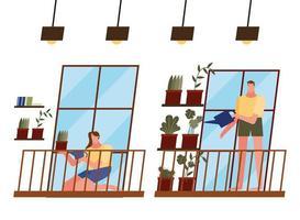 mulher e homem cuidando das plantas em casa vetor