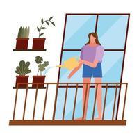 mulher cuidando de plantas em casa vetor