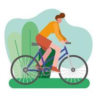 jovem passeio de bicicleta praticando personagem vetor