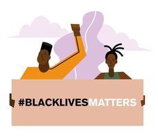 vidas negras importam bandeira com homem e mulher vetor