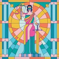 ilustração do vetor da senhora da justiça femida ou themis pintura em vidro ou vitral