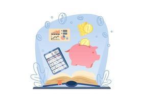 conceito de webinar de alfabetização financeira. livro aberto com cofrinho, calculadora e gráfico. economizando dinheiro. pode ser usado para páginas de destino, web, interface de usuário, banners, modelos, planos de fundo, base. vetor