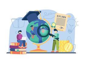 conceito de bolsa de estudos de educação global. pode ser usado para páginas de destino, web, interface de usuário, banners, modelos, planos de fundo, base. vetor