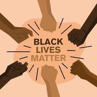 vida negra importa design com os punhos para cima vetor