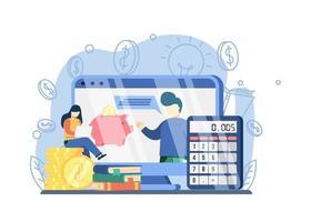 conceito de webinar de alfabetização financeira. mulheres que procuram cursos online de educação financeira. economizando dinheiro. pode ser usado para páginas de destino, web, interface de usuário, banners, modelos, planos de fundo, base. vetor